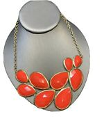 "Vintage Brick Red Necklace Gold Bib  statement Oval cabochons Lucite 16"" Long"