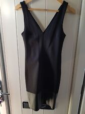 Stunning fitted v-neck black Topshop Dress with leather + zip hem Size 6 Ex cond