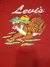 NWT Levi's Long Sleeve Crew Neck Red  Cotton Tiger T-Shirt Men's Size 2XL