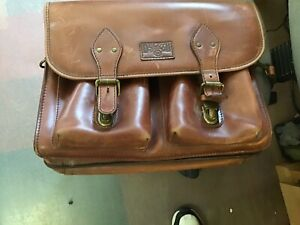 "DULUTH TRADING Bashful Billionaire's Heavy Leather Briefcase Messenger Bag 16"""