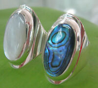 "925 sterling silver OVAL ""white MOP , ABALONE Paua Shell"" Women Ring ""BIG"" sizes"