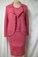 Terani Santana Knit 3 Pc.Suit/Crystal Embellished Jacket/Skirt/Top-Salmon Pink-8