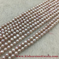 Baroque Shape Peach pink Color Beautiful Freshwater Pearl String 14-15 mm Size