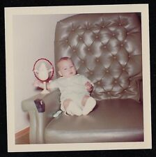 Vintage Photograph Adorable Little Baby Sitting in Leather Chair
