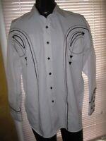 MacGear Button Down Shirt Black Glow In the Dark Piping NWT