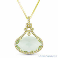 5.38ct Oval Green Amethyst & Diamond Halo 14k Yellow Gold Pendant Chain Necklace