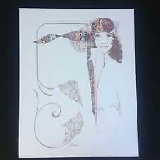 """Vintage William W Tara 70s Woman With Scarf Lithograph Art Print 22"""" X 28"""""""