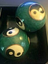 SET of 2 Chinese Cloisonne Therapy Stress Baoding Ball Blue Yin Yang Design NICE