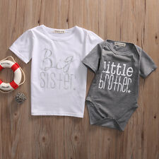 Matching Baby Boy Littler Brother Romper /Big Sister Girl T-shirt Top Outfit Set