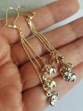 14k yellow white rose gold elephants good luck long drop dangle earrings