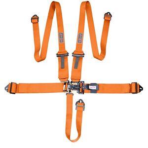 "Nascar Harness 5-Point SFI 3"" to 2"" FHR Latch Belt F2 Alu Adjuster - ORANGE"