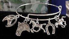 Horse & Horse Shoes Silver charm Expandable Bangle Bracelet