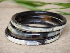 Natural Buffalo Horn Jewelry Bangles Set 3 Thick Bracelets
