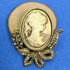 Style Cameo Brooch Antique Gold Vintage Victorian