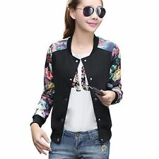 Teenloveme Womens Floral Bomber Jacket Stand Collar Zip up Pilot Jacket New S