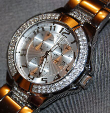 Guess Women's Chrono Watch w/Crystals White Dial Bling Stainless NEW BATTERY!