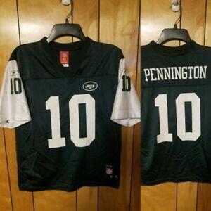 New York Jets Jersey YOUTH KIDS L Large (14-16) #10 Chad Pennington GREEN WHITE
