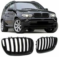 GLOSS BLACK GRILLS GRILLES GRILL FOR BMW X5 E53 11/2003 - 01/2007 FACELIFT MODEL