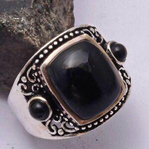 Black Onyx Ethnic Handmade Ring Jewelry US Size-5.7 AR 41995
