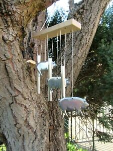 METAL AND WOOD PIG AND CHIME WINDCHIME / HANDCRAFTED GARDEN  ORNAMENT