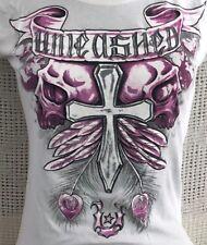 Girls Unleashed Short-Sleeve White T-Shirt Top Xl Purple Skull Cross Feathers
