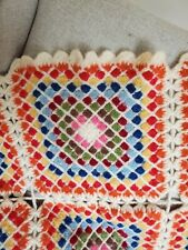 "Vintage handmade wool granny square blanket  throw crochet afghan 30"" x 42.5"""