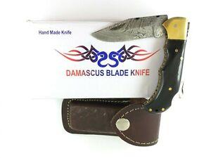 Damascus Lockback Tanto Knife Buffalo Horn Handles + Box & Sheath 4007-NM