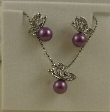 CLEAR RHINESTONE CRYSTAL BUTTERFLY WITH PURPLE PEARL NECKLACE AND EARRINGS SET