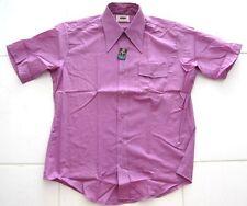 Vintage 1970's Shirt GOLDEN VEE ENDURA-PRESS MENS SHORT SLEEVE PURPLE Size M