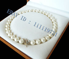 "perfect AAAA+ 10mm White south sea shell pearl necklace 18"" LL003"