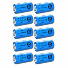 10x Exell 1.2V 2800mAh NiCD C Rechargeable Battery Flat Top Cell FAST USA SHIP