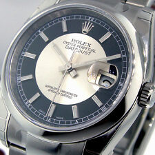 ROLEX DATEJUST 116200 STEEL 36 mm OYSTER BULLS EYE BLACK SILVER DIAL