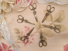 6 x bronze tone scissors charm pendants, embellishment ,scrapbooking, crafts.