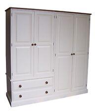 """Solid Pine 1905 mm(75"""")Wide Bedroom 4 Door 2 Drawer Combination Painted Wardrobe"""