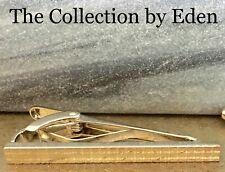 Perry Ellis Portfolio Tie Clip- Silver Bar Clasp Etched Plaid Detail