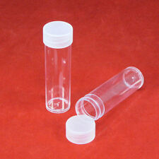 25 Round Plastic Coin Storage Tubes for Pennies with Screw On Caps