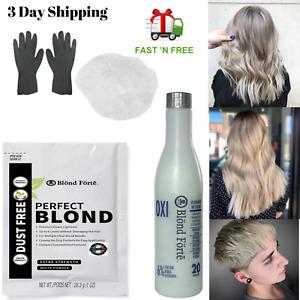 Perfect Blond DIY Hair Lightener Bleaching Powder Kit  20 Vol Developer + Glove
