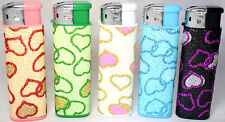 5 x HEARTS Lighters Glitter Pink Black Blue+ Refilable Soft Flame Ajust New