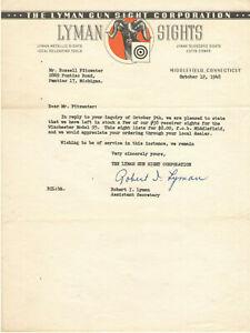 VINTAGE 1948 'THE LYMAN GUN SIGHTS CORPORATION' TYPED LETTER ON LETTERHEAD!