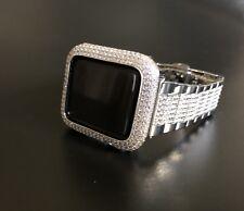 Apple Watch Band 38mm Series 1 Silver Rhinestone Case Cover Bezel Lab Diamond