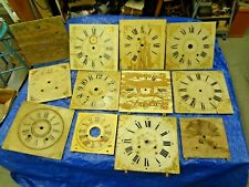 Large Lot Antique Wood Clock Dial Faces Original As Is Condition Circa 1800's
