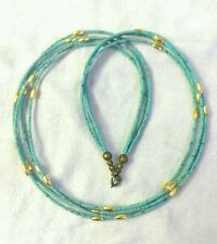 Afghan Natural Turquoise & Gold Plated Tiny Seed Beads Necklace Multi Strand