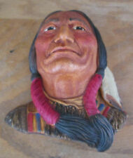 1984 Sitting Bull Legend Signed by F. Wright England Chalkware Excellent Condi