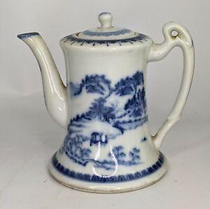 Chinese Antique Republic Period Blue & White Bell Teapot Superb Landscape Design