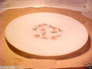 "VINTAGE Fire - King 9"" Plate Fleurette PINK FLOWER OVEN WARE MADE IN USA"