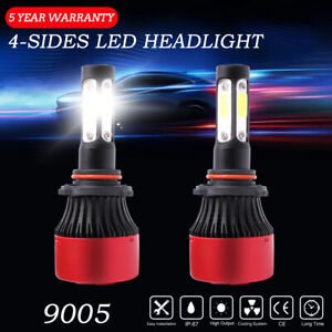4-Sides 9005 HB3 LED Headlight Bulb High Beam Conversion Kit 6000K 16000LM White