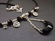 """BLACK MOON CHOKER NECKLACE BEADED CHAIN 15-17"""" FACETED GLASS CRYSTAL BEADS goth"""
