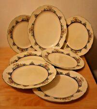 6 Vintage Royal Cauldon Dinner Plates + 1 Oval platter