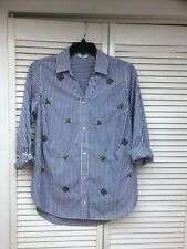 Crown & Ivory LS Blue & White Striped Button Front Top w/Beading, Curvy 0X, NWT
