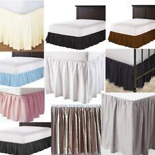 """Easy Tuck Solid Ruffled Bed Skirt 625 Tc Cotton Split Corner Length 17"""" 18"""" 19"""""""